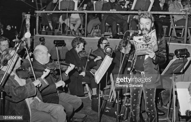 English singer, songwriter and musician Roy Wood of Wizzard recording the soundtrack for the rock musical 'Tommy', by English rock band The Who, UK,...