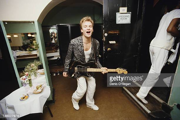 English singer, songwriter and musician Sting backstage at the Royal Albert Hall in London, 1986.