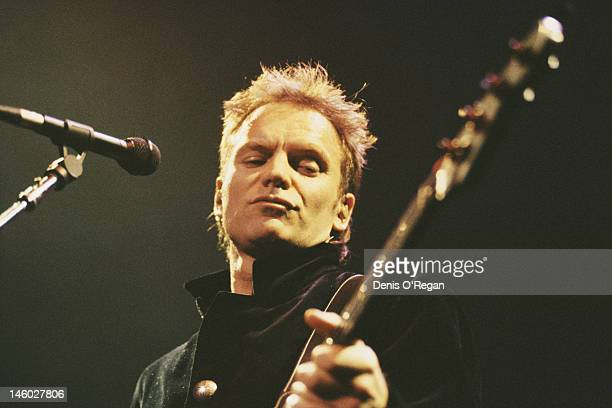 English singer songwriter and musician Sting in concert circa 1990