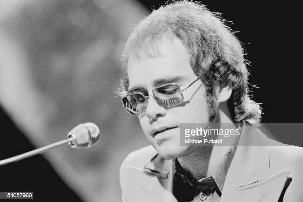 English singer, songwriter and pianist Elton John performs on the television music show 'Top of the Pops', 24th May 1972.