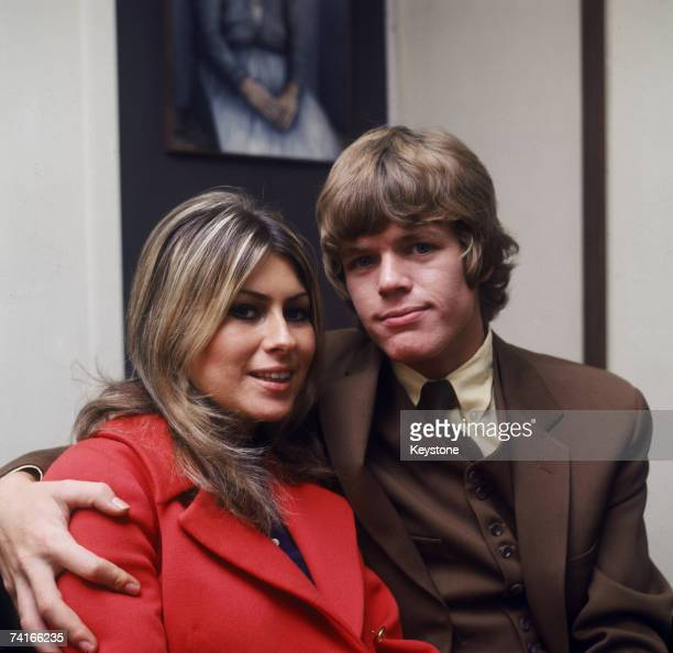 English singer songwriter musician and actor Peter Noone of British pop group Herman's Hermits with his wifetobe Mireille Strasser circa 1968