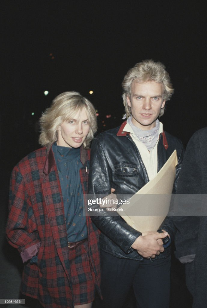 English singer, songwriter, musician and actor Sting with his partner Trudie Styler, circa 1985.