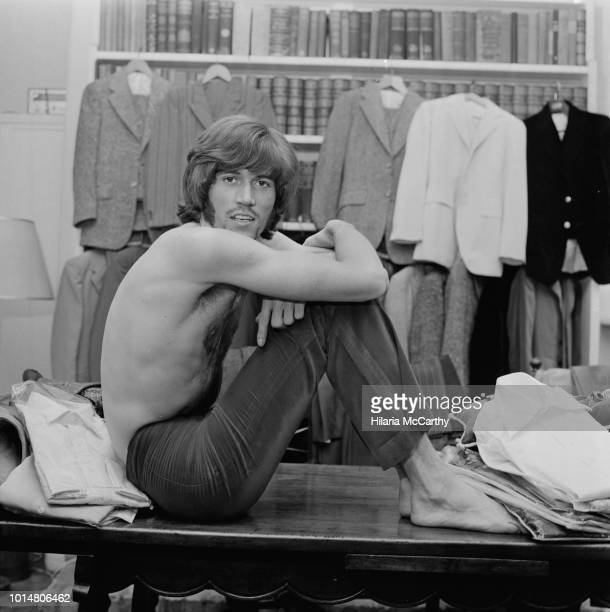 English singer, songwriter, musician and record producer Barry Gibb of pop group The Bee Gees, who won the title of 'Britain's Best Dressed...