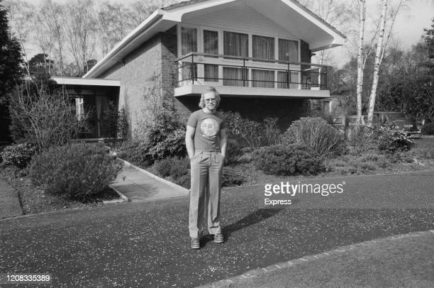 English singer songwriter pianist and composer Elton John in front of his house UK 16th March 1973