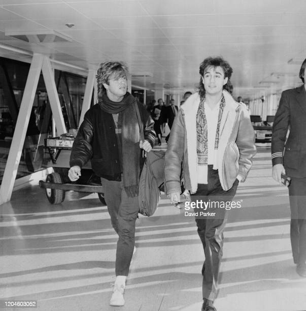 English singer songwriter record producer and philanthropist George Michael and English singer songwriter and record producer Andrew Ridgeley of pop...
