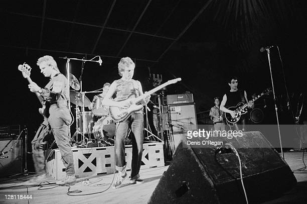 English singer Sting and guitarist Andy Summers performing with rock group The Police at the MontdeMarsan Festival France 5th August 1977