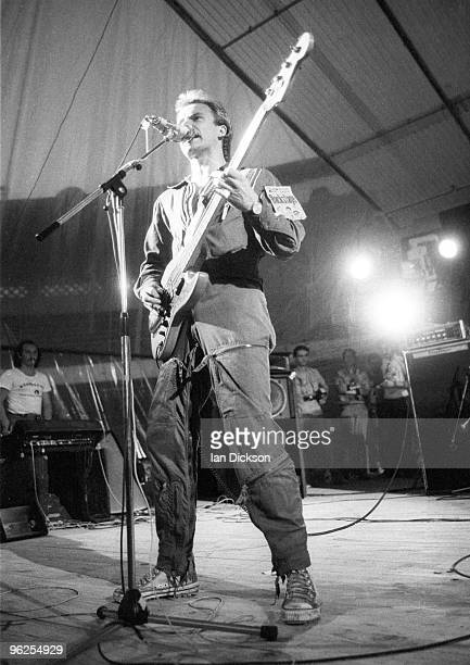 English singer Sting performing with rock group The Police, at the Mont-de-Marsan Festival, 5th August 1977.