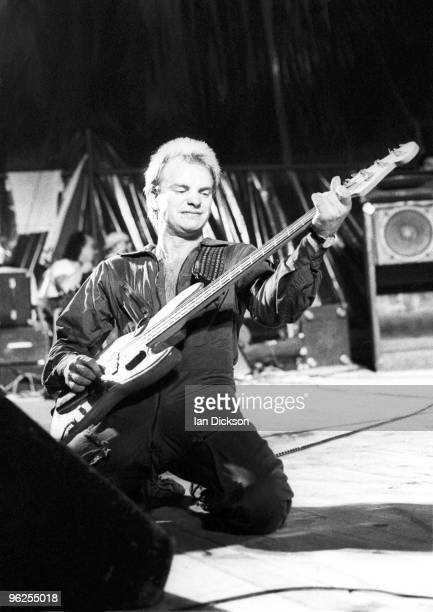 English singer Sting performing with rock group The Police at the MontdeMarsan Festival 5th August 1977