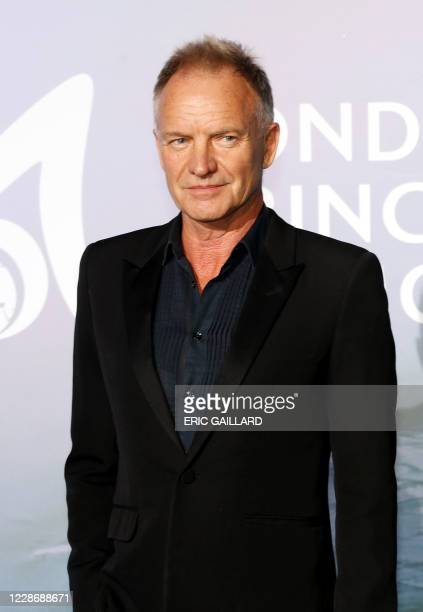 English singer Sting poses on the red carpet ahead of the 2020 Monte-Carlo Gala for Planetary Health in Monaco on September 24, 2020.