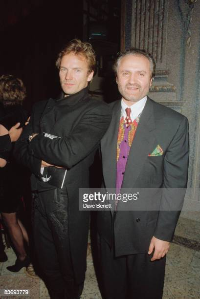 English singer Sting with fashion designer Gianni Versace 7th January 1991