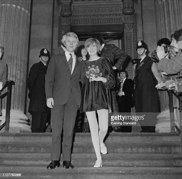 English singer, television presenter, actress, and author Cilla Black and British songwriter Bobby Willis on their wedding day at Marylebone Town...