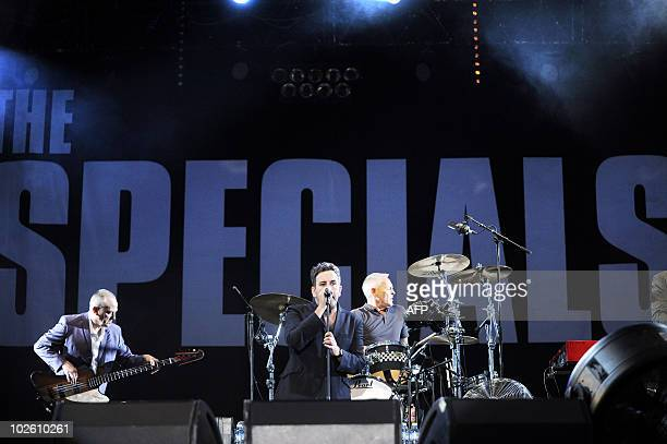 English singer Terry Hall performs on stage with his band 'The Specials' during the 22nd edition of the Eurockeennes Music Festival on July 3 in...