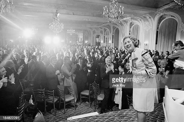 English singer Vera Lynn sings to 500 guests at a Variety Club tribute to bandleader Joe Loss at the Savoy Hotel London 14th March 1972