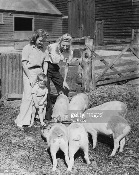 English singer Vera Lynn with actress Florence Desmond on Desmond's farm in Essex July 1941 Lynn is staying at the farm while recovering from an...