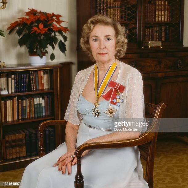 English singer Vera Lynn with her medals circa 1980