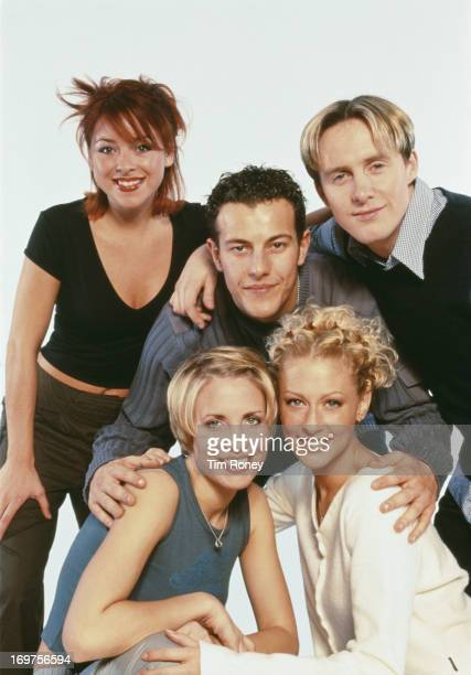 English singers Claire Richards Faye Tozer Ian 'H' Watkins Lee LatchfordEvans and Lisa ScottLee of the pop group Steps circa 1998