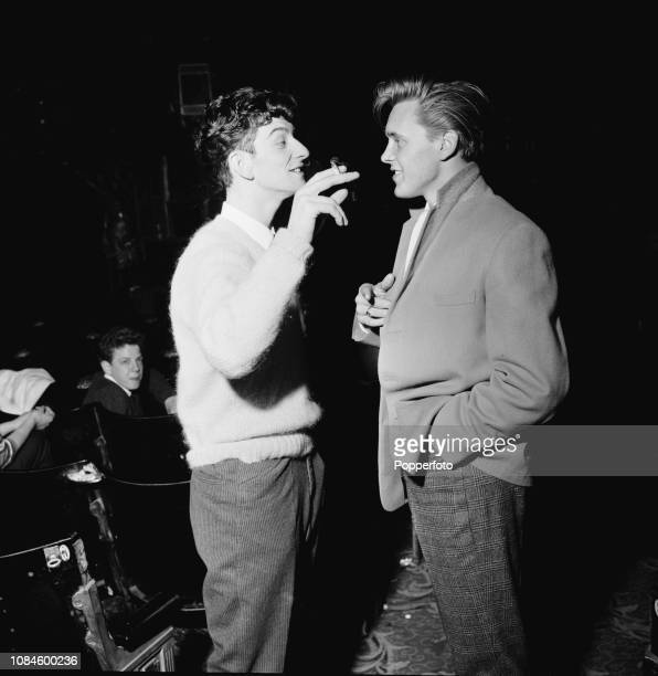 English singers Dickie Pride on left and Billy Fury pictured together at a theatre in England during a Larry Parnes promoted package tour in November...
