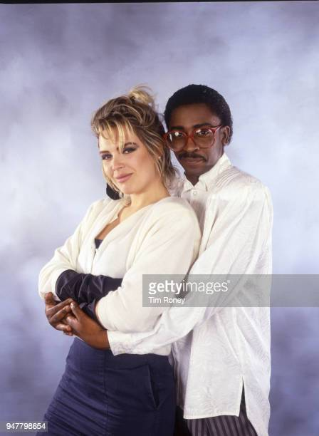 English singers Kim Wilde and Junior Giscombe circa 1988