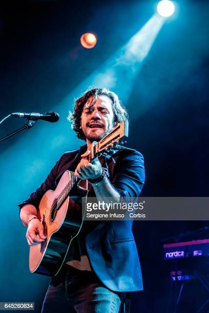 English singersongrwriter Jack Savoretti performs on stage on February 24 2017 in Milan Italy