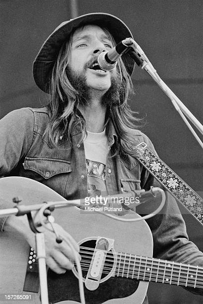 English singer-songwriter Alan Hull performing with folk rock group Lindisfarne at the Great Western Express Lincoln Festival, Bardney, Lincolnshire,...