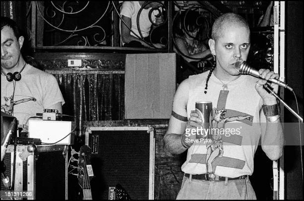 English singersongwriter and artist Genesis POrridge performing at the first British performance by experimental music group Psychic TV at the Ritz...