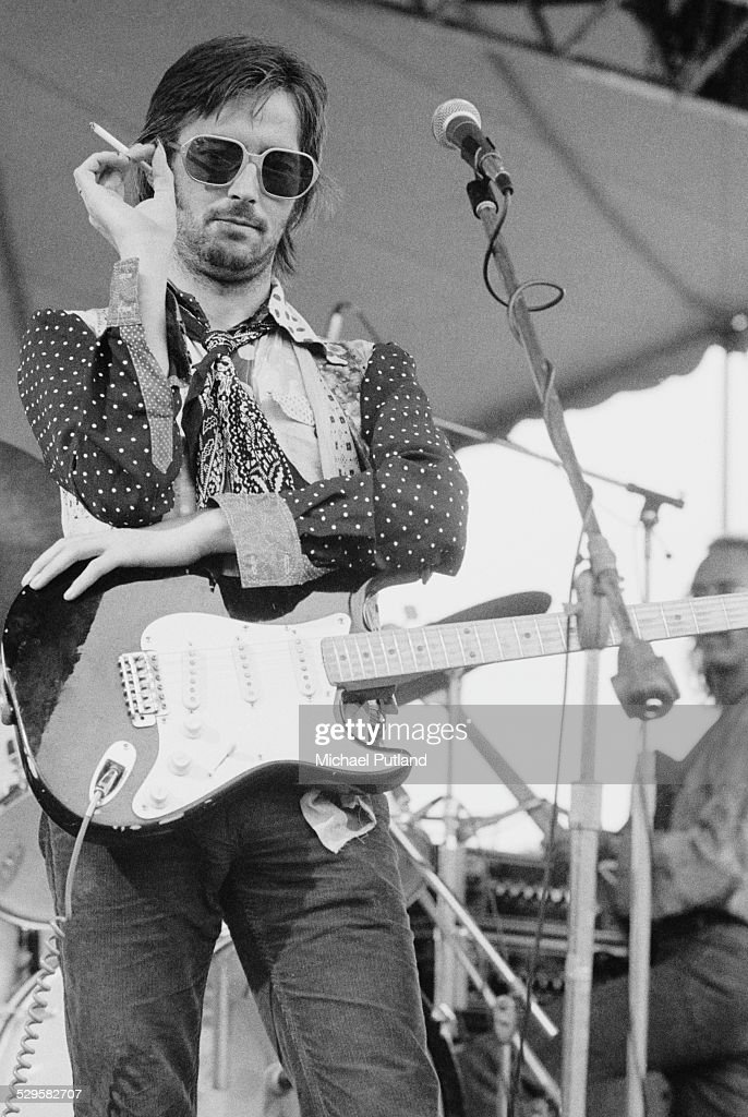 English singer-songwriter and guitarist Eric Clapton, at a sound check during his US tour, July 1974.