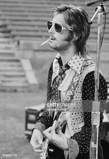 English singersongwriter and guitarist Eric Clapton at a sound check during his US tour July 1974