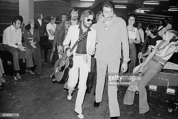 English singersongwriter and guitarist Eric Clapton at an airport during his US tour 17th July 1974