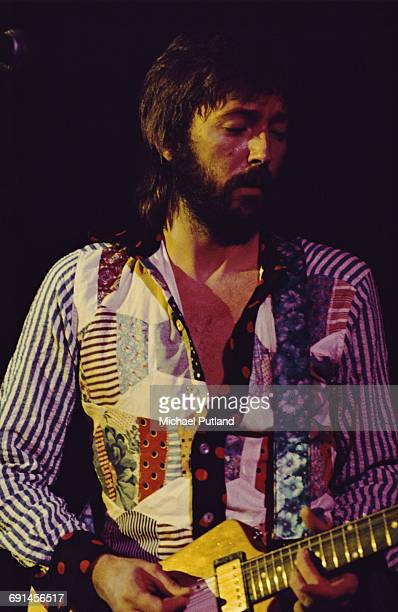 English singersongwriter and guitarist Eric Clapton performing on stage 1975