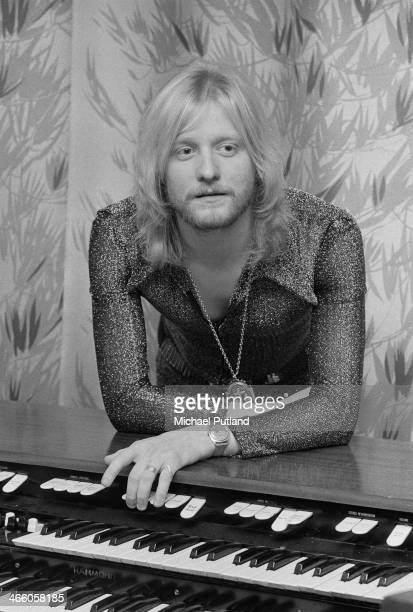 English singersongwriter and musician John Miles leaning on a Hammond organ 1974