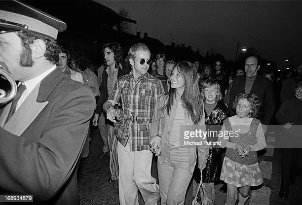 English singersongwriter and pianist Elton John at the Rocket Records launch party Moretononthe Marsh Gloucestershire 26th April 1973 John's manager...