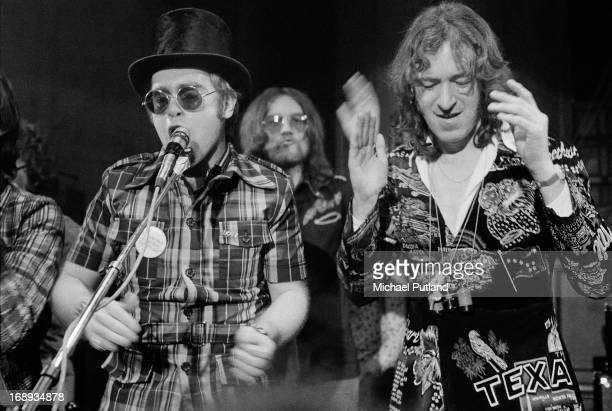 English singersongwriter and pianist Elton John performing at the Rocket Records launch party Moretononthe Marsh Gloucestershire 26th April 1973