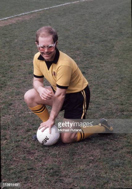 English singersongwriter and vicepresident of Watford FC Elton John at Vicarage Road football ground Watford November 1973