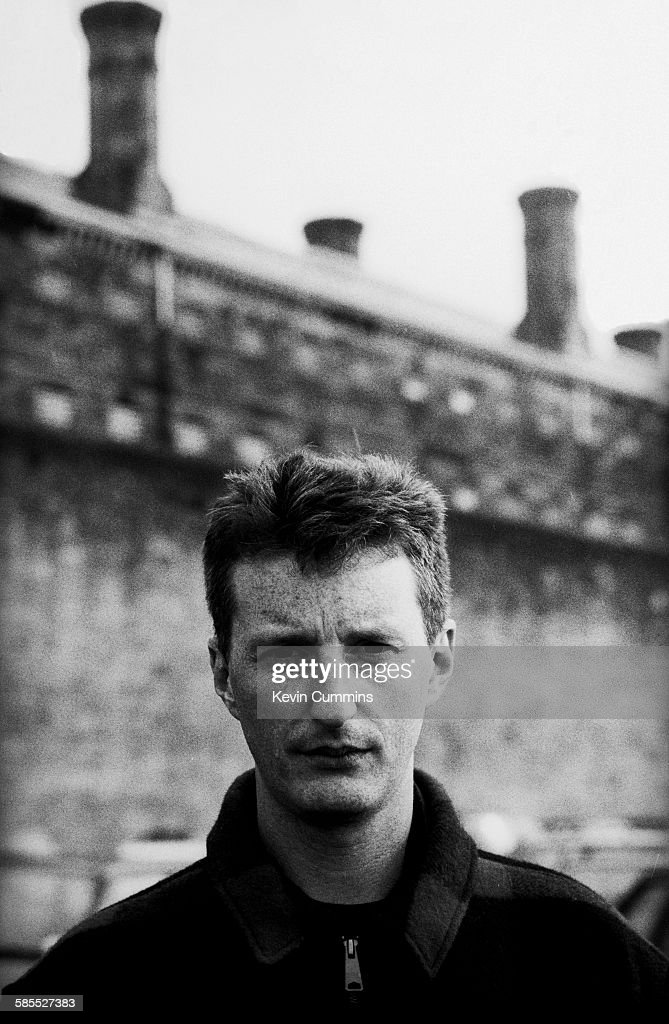 English singer-songwriter Billy Bragg outside Barlinnie prison in Glasgow, Scotland, 8th May 1990.