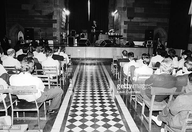 English singersongwriter Billy Bragg performing at Barlinnie prison in Glasgow Scotland 8th May 1990