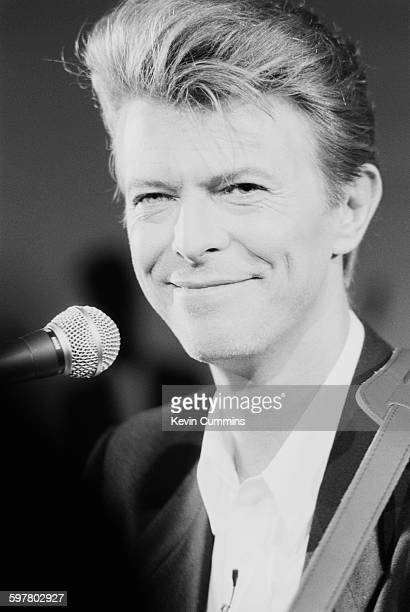 English singersongwriter David Bowie appears at a press conference to promote his Sound Vision tour at the Rainbow Theatre London 23rd January 1990