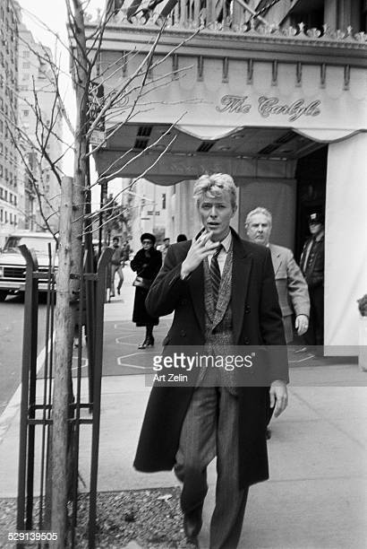 English singer-songwriter David Bowie on Madison Avenue, New York, 27th January 1983. He is at the Carlyle Hotel for a press conference.