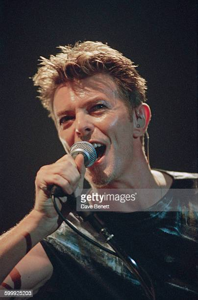 English singersongwriter David Bowie performing at Wembley Arena London 14th November 1995