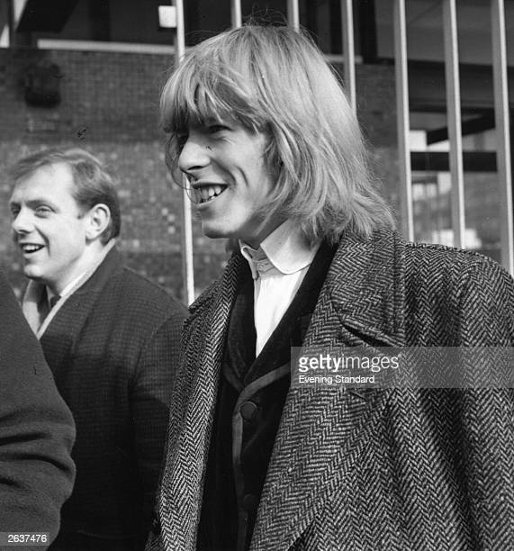 English singer-songwriter David Bowie , then still known as Davy Jones, at BBC TV Centre, London, March 1965. Jones and his group, The Manish Boys,...