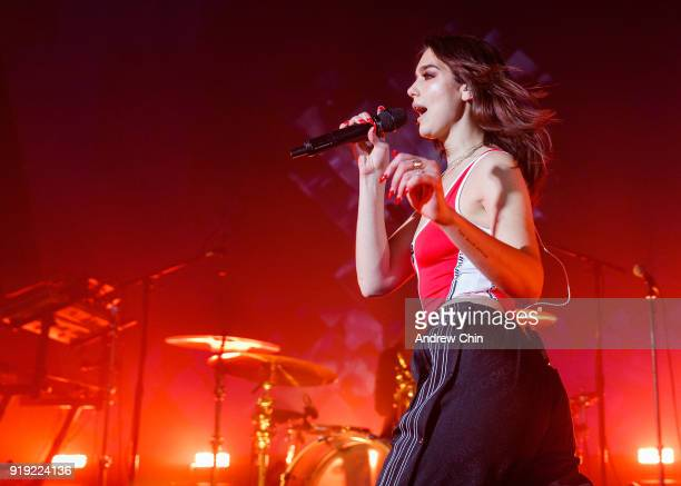 English singersongwriter Dua Lipa performs on stage at Vogue Theatre on February 16 2018 in Vancouver Canada