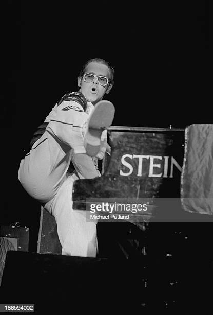 English singersongwriter Elton John performing at the King's Hall Belle Vue Manchester 29th November 1973