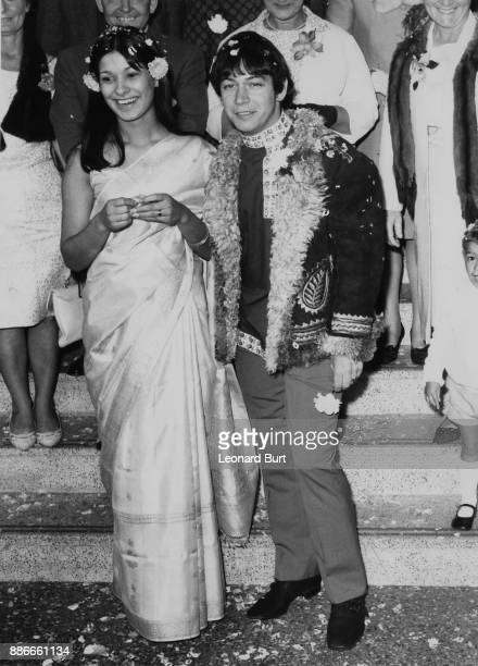 English singersongwriter Eric Burdon of The Animals with his wife AngloIndian model Angela King after their wedding at Caxton Hall in London 7th...
