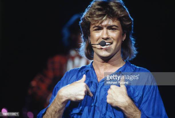 English singersongwriter George Michael of Wham performing on stage in Japan during the pop duo's 1985 world tour January 1985 'The Big Tour' took in...