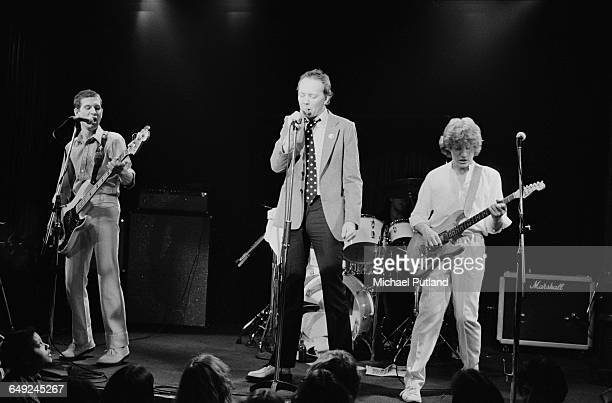 English singersongwriter Joe Jackson performing on stage with bassist Graham Maby and guitarist Gary Sanford April 1979