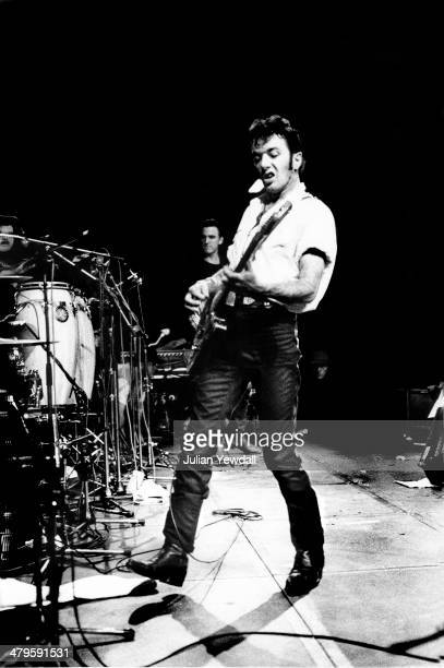 English singer-songwriter Joe Strummer performing with rock group The Latino Rockabilly War, at the Hackney Empire, during the Green Wedge Benefit...