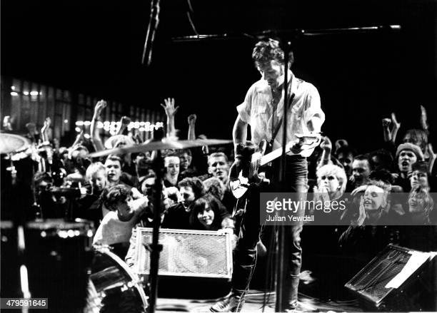 English singersongwriter Joe Strummer performing with rock group The Latino Rockabilly War at the Fountain Leisure Centre Brentford London 9th July...