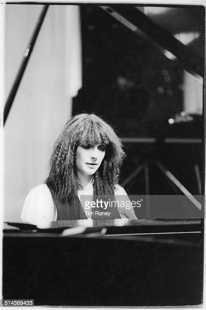 English singersongwriter Kate Bush at a piano circa 1979