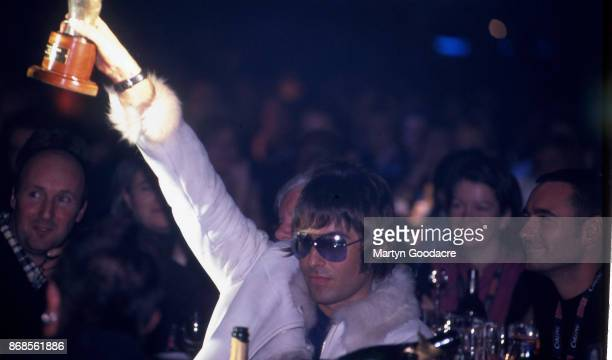 English singersongwriter Liam Gallagher of Oasis winner of the 'Hero of the year' award at the NME Awards Planit Arches London 6th February 2001