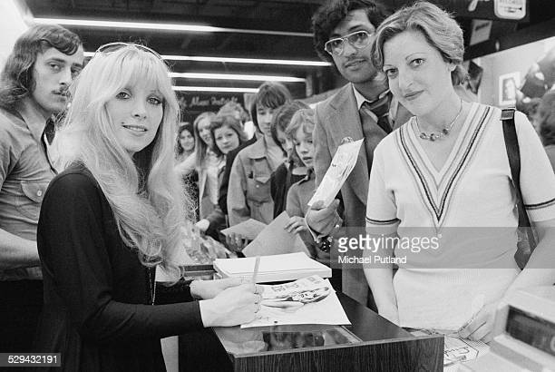 English singersongwriter Lynsey de Paul signing autographs for fans June 1974