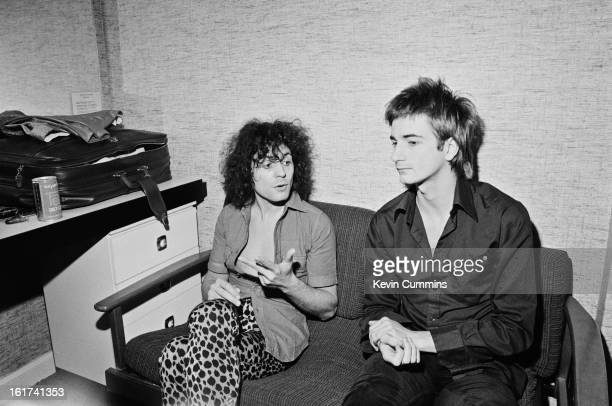 English singer-songwriter Marc Bolan talks to journalist Paul Morley of the New Musical Express in his dressing room at Granada Studios in...